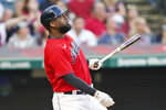 Cleveland Indians' Franmil Reyes watches his two-run home run in the fourth inning of a baseball game against the Minnesota Twins, Monday, Sept. 6, 2021, in Cleveland. (AP Photo/Tony Dejak)