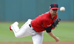 Cleveland Indians starting pitcher Shane Bieber delivers in the first inning of the team's baseball game against the Kansas City Royals, Friday, July 19, 2019, in Cleveland. (AP Photo/Tony Dejak)