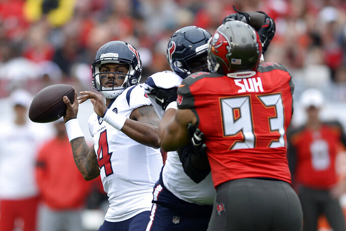 Houston Texans quarterback Deshaun Watson (4) throws a pass against the Tampa Bay Buccaneers during the first half of an NFL football game Saturday, Dec. 21, 2019, in Tampa, Fla. (AP Photo/Jason Behnken)