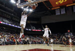 Southern California guard Kevin Porter Jr. (4) scores on a breakaway dunk during the second half of an NCAA college basketball game against Oregon State Saturday, Feb. 23, 2019, in Los Angeles. (AP Photo/Marcio Jose Sanchez)
