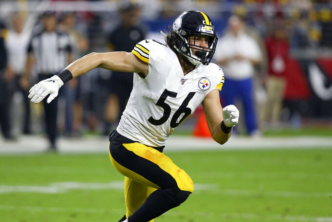 Pittsburgh Steelers linebacker Anthony Chickillo (56) runs a play against the Arizona Cardinals during the first half of an NFL football game, Sunday, Dec. 8, 2019, in Glendale, Ariz. (AP Photo/Ross D. Franklin)