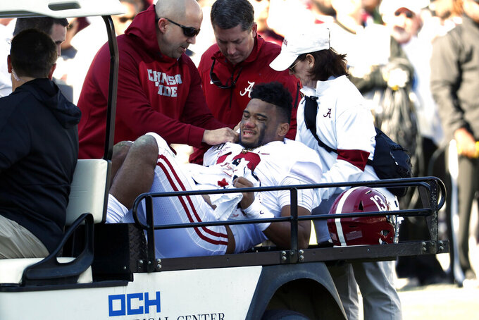 Tagovailoa injured in Alabama's 38-7 win at MSU