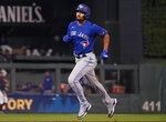 Toronto Blue Jays' Marcus Semien rounds the bases on his solo home run off Minnesota Twins pitcher Bailey Ober in the sixth inning of a baseball game, Friday, Sept. 24, 2021, in Minneapolis. (AP Photo/Jim Mone)