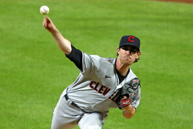 Cleveland Indians starting pitcher Shane Bieber delivers during the sixth inning of a baseball game against the Pittsburgh Pirates in Pittsburgh, Thursday, Aug. 20, 2020. The Indians won 2-0. (AP Photo/Gene J. Puskar)