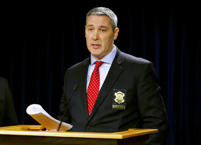 FILE - In this Thursday, April 6, 2017, file photo, Assistant Police Chief Paul Neudigate discusses the shooting at the Cameo nightclub the month before, during a news conference in Cincinnati. Neudigate, a 30-year veteran of the Cincinnati Police Department, has been named as the new police chief of Virginia Beach, Va. He will begin his job in Virginia Beach on Oct. 14, 2020. (Cara Owsley/The Cincinnati Enquirer via AP, File)