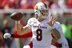 Idaho State quarterback Matt Struck (8) passes the ball against Utah in the first half of an NCAA college football game Saturday, Sept. 14, 2019, in Salt Lake City. (AP Photo/Rick Bowmer)