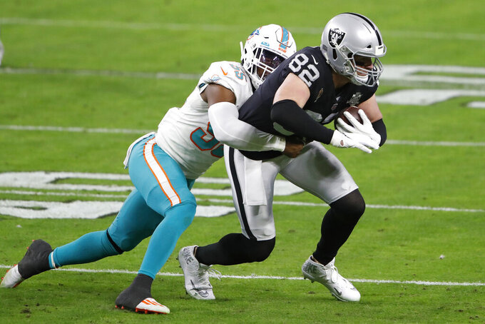 Miami Dolphins outside linebacker Jerome Baker (55) tackles Las Vegas Raiders tight end Jason Witten (82) during the first half of an NFL football game, Saturday, Dec. 26, 2020, in Las Vegas. (AP Photo/Steve Marcus)