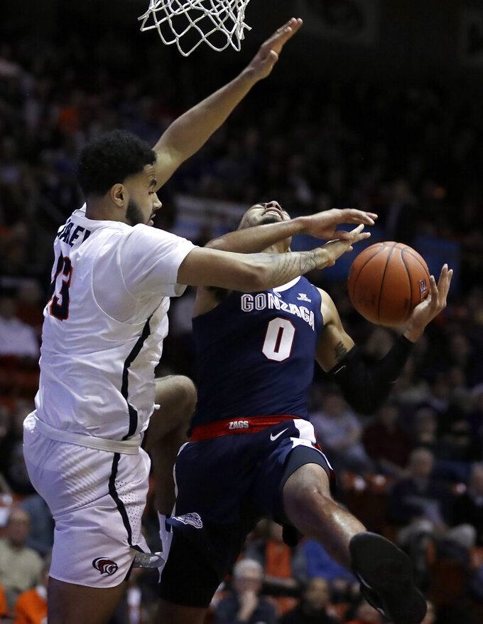 Pacific's Jeremiah Bailey, left, defends against Gonzaga's Geno Crandall (0) in the first half of an NCAA college basketball game Thursday, Feb. 28, 2019, in Stockton, Calif. (AP Photo/Ben Margot)