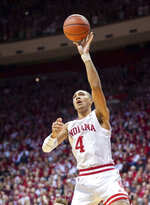 Indiana forward Trayce Jackson-Davis (4) shoots the ball during the first half of an NCAA college basketball game against Purdue, Saturday, Feb. 8, 2020, in Bloomington, Ind. (AP Photo/Doug McSchooler)