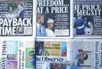The front pages of London's Sunday newspapers are displayed in London, Sunday, Jan. 19, 2020. The papers fronted the news that Buckingham Palace says Prince Harry and his wife, Meghan, will no longer use the titles