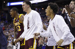 Iona's bench reacts in the first half against North Carolina during a first round men's college basketball game in the NCAA Tournament in Columbus, Ohio, Friday, March 22, 2019. (AP Photo/Tony Dejak)