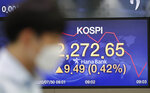 A currency trader walks near the screen showing the Korea Composite Stock Price Index (KOSPI) at the foreign exchange dealing room in Seoul, South Korea, Thursday, July 30, 2020.  Asian stocks advanced Thursday after the U.S. Federal Reserve left interest rates near zero to support a struggling economy. (AP Photo/Lee Jin-man)