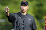 FILE - In this Aug. 2, 2019, file photo, Iowa State coach Matt Campbell gestures during an NCAA college football practice, in Ames, Iowa. Iowa State, which has won 23 games since 2017 and gone to three straight bowls,  brings back nine starters on offense and seven on defense from a team that came close to being much better than its 7-6 record. (AP Photo/Charlie Neibergall, File)