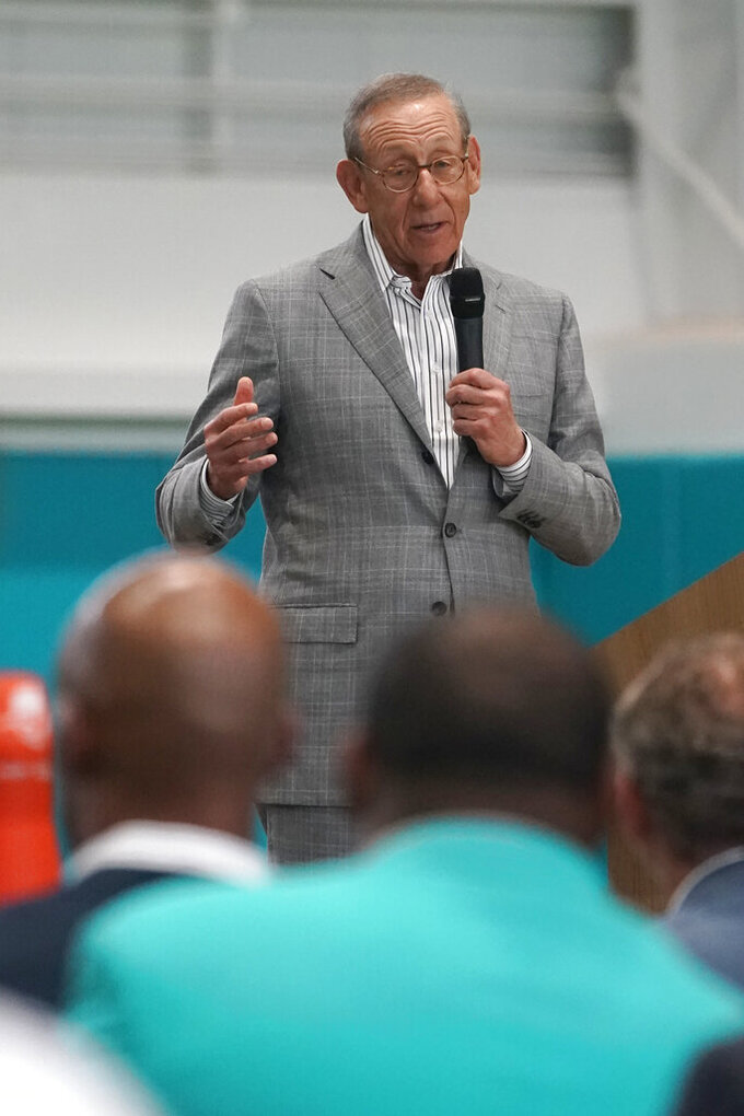 Miami Dolphins owner Stephen Ross speaks during a ceremony at the NFL football team's new training facility, Tuesday, July 20, 2021, in Miami Gardens, Fla. The Dolphins held a grand opening for their $135 million training complex one week before the start of training camp. (AP Photo/Wilfredo Lee)