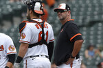 Baltimore Orioles manager Brandon Hyde, right, stands on the mound during a pitching change in the sixth inning of baseball game against the Tampa Bay Rays, Sunday, Aug. 29, 2021, in Baltimore. (AP Photo/Gail Burton)