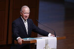 Former Indiana Governor Mitch Daniels, president of Purdue University, speaks during a funeral service for Sen. Richard Lugar, Wednesday, May 15, 2019, in Indianapolis. Lugar was a longtime Republican senator and former Indianapolis mayor who's been hailed as an