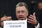 "FILE - In this Nov. 19, 2019, file photo, Ambassador Kurt Volker, former special envoy to Ukraine, testifies before the House Intelligence Committee on Capitol Hill in Washington. The ""three amigos"" used to mean just one thing in Washington -- the trio of globe-trotting senators led by John McCain who brought American idealism to the trouble spots of the world. Now, it refers to another trio, the Trump envoys pushing Ukraine to pursue investigations of Democrats and Joe Biden.(AP Photo/Susan Walsh, File)"