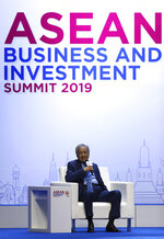 Malaysian Prime Minister Mahathir Mohamad speaks during the ASEAN Business and Investment Summit (ABIS), a parallel event to the ASEAN summit in Nonthaburi, Thailand, Saturday, Nov. 2, 2019. (AP Photo/Aijaz Rahi)