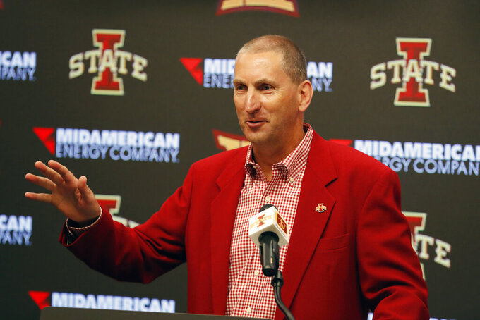 FILE - In this Aug. 1, 2018, file photo, Iowa State Athletic Director Jamie Pollard speaks during an NCAA college football news conference, in Ames, Iowa. Iowa State has extended the contract of Athletics Director Jamie Pollard to 2026. (AP Photo/Charlie Neibergall, File)