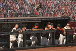 The San Francisco Giants, including Brandon Belt, left, and Mauricio Dubon, second from left,  watch the final moments of a baseball game from the dugout in the ninth inning against the San Diego Padres, Sunday, Sept. 27, 2020, in San Francisco. (AP Photo/Eric Risberg)