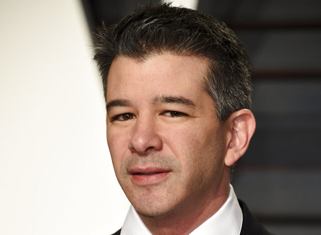FILE - In this Feb. 26, 2017, file photo, Uber CEO Travis Kalanick arrives at the Vanity Fair Oscar Party in Beverly Hills, Calif. Former Uber CEO Kalanick will resign from the company's board next week, effectively severing ties with the company he co-founded a decade ago. (Photo by Evan Agostini/Invision/AP, File)