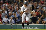 New York Yankees' Aaron Judge runs on his two-run double during the eighth inning of a baseball game against the Boston Red Sox, Sunday, Sept. 26, 2021, in Boston. (AP Photo/Michael Dwyer)
