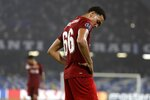 Liverpool's Trent Alexander-Arnold reacts after the Champions League Group E soccer match between Napoli and Liverpool, at the San Paolo stadium in Naples, Italy, Tuesday, Sept. 17, 2019. Napoli won 2-0. (AP Photo/Gregorio Borgia)