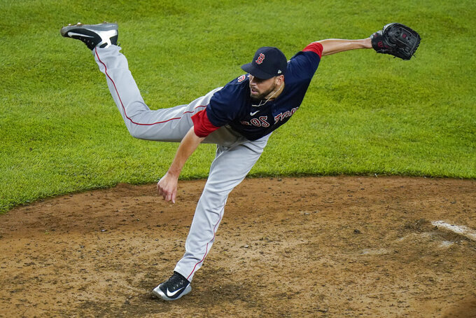 Boston Red Sox's Matt Barnes delivers a pitch during the ninth inning of a baseball game against the New York Yankees, Friday, June 4, 2021, in New York. (AP Photo/Frank Franklin II)