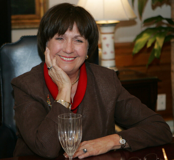 FILE - In this Dec. 18, 2007, file photo, Louisiana Gov. Kathleen Blanco conducts an interview in her office Baton Rouge, La. Blanco says there's