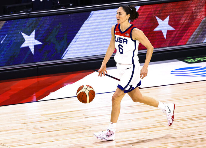 U.S. guard Sue Bird brings the ball up during the first half of the team's pre-Olympic exhibition basketball game against Nigeria in Las Vegas on Sunday, July 18, 2021. (Chase Stevens/Las Vegas Review-Journal via AP)