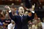 TCU head coach Jamie Dixon directs his players during the first half of an NCAA college basketball game against Texas, Saturday, March 9, 2019, in Austin, Texas. (AP Photo/Eric Gay)