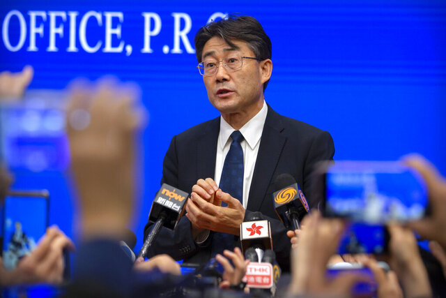 Gao Fu, the head of the Chinese Center for Disease Control and Prevention (China CDC), speaks to journalists after a press conference at the State Council Information Office in Beijing on Jan. 26, 2020. Gao has revealed Tuesday, July 28, 2020 he has been injected with an experimental coronavirus vaccine in what he said is an attempt to persuade the public to follow suit when one is approved. (AP Photo/Mark Schiefelbein)