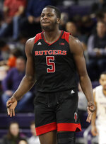 Rutgers forward Eugene Omoruyi reacts after he made a 3-point basket against Northwestern during the second half of an NCAA college basketball game, Wednesday, Feb. 13, 2019, in Evanston, Ill. Rutgers won 59-56. (AP Photo/Nam Y. Huh)