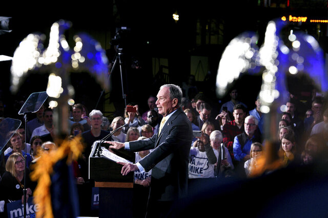 FILE - In this Feb. 4, 2020, file photo, Democratic presidential candidate and former New York City Mayor Michael Bloomberg speaks at a campaign rally at the National Constitution Center in Philadelphia. (Tom Gralish/The Philadelphia Inquirer via AP)