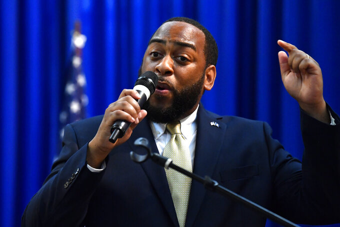 Democrat Charles Booker Speaks to a gathering of supporters as he announces his candidacy for the United States Senate at the Kentucky Center for African American Heritage in Louisville, Ky., Thursday, July 1, 2021. He will be running against incumbent Rand Paul, R-Ky. (AP Photo/Timothy D. Easley)
