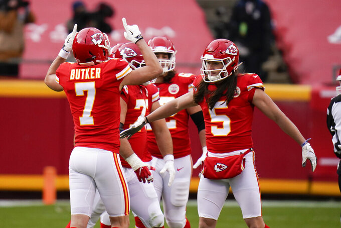 Kansas City Chiefs place kicker Harrison Butker (7) celebrates after kicking a 50-yard field goal during the first half of an NFL divisional round football game against the Cleveland Browns, Sunday, Jan. 17, 2021, in Kansas City. (AP Photo/Jeff Roberson)