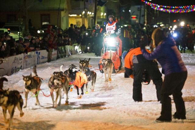 Thomas Waerner, of Norway, arrives in Nome, Alaska, Wednesday, March 18, 2020, to win the Iditarod Trail Sled Dog Race. (Marc Lester/Anchorage Daily News via AP)