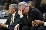 Iowa head coach Fran McCaffery reacts on the bench during the second half of an NCAA college basketball game against DePaul, Monday, Nov. 11, 2019, in Iowa City, Iowa. DePaul won 93-78. (AP Photo/Charlie Neibergall)