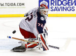 Columbus Blue Jackets goaltender Sergei Bobrovsky (72) of Russia makes a save during the second period of an NHL hockey game against the New York Islanders in New York, Tuesday, Feb. 13, 2018. (AP Photo/Kathy Willens)