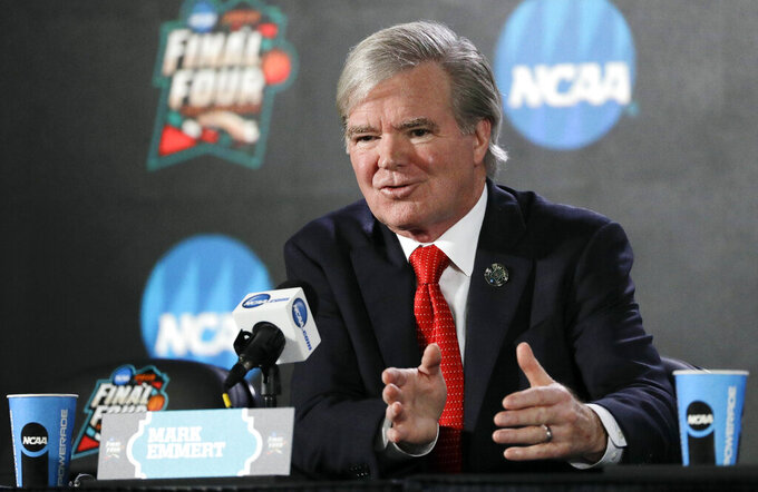 FILE - In this March 29, 2018, file photo, NCAA President Mark Emmert speaks during a news conference at the Final Four NCAA college basketball tournament in San Antonio. Emmert has said an independent enforcement body to adjudicate major infractions cases could be in place by August, after three men received prison sentences Tuesday, March 5, 2019, in the widespread college basketball recruiting scandal that has tainted two dozen schools.. (AP Photo/David J. Phillip, File)