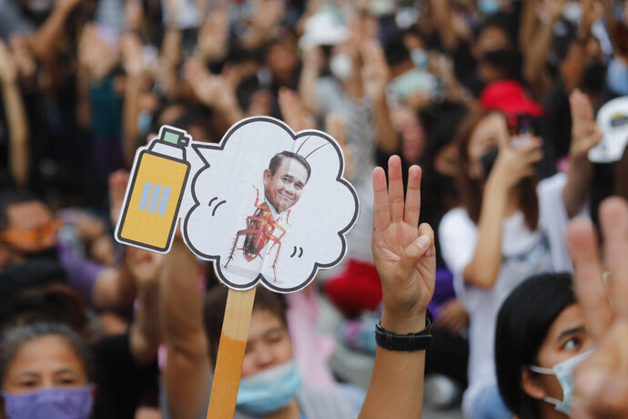 Pro-democracy activists display a placard with Thai Prime Minister Prayuth Chan-ocha's head attached to a cockroach during a protest outside remand prison, in which some of the activists are kept, in Bangkok, Thailand, Friday, Oct. 23, 2020. Thailand's government on Thursday canceled a state of emergency it had declared last week for Bangkok in a gesture offered by the embattled prime minister to cool student-led protests seeking democracy reforms. (AP Photo/Sakchai Lalit)