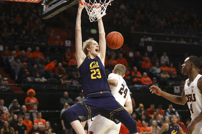 California's Connor Vanover (23) dunks during the second half of an NCAA college basketball game against Oregon State in Corvallis, Ore., Saturday, Feb. 9, 2019. Oregon State won, 79-71. (AP Photo/Amanda Loman)