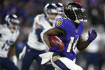 Baltimore Ravens wide receiver De'Anthony Thomas (16) runs against the Tennessee Titans on a kickoff return during the first half an NFL divisional playoff football game, Saturday, Jan. 11, 2020, in Baltimore. (AP Photo/Nick Wass)