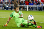 Portugal's Ines Pereira makes a save against the United States during the first half of a friendly soccer match Tuesday, Sept. 3, 2019, in St. Paul, Minn. (AP Photo/Bruce Kluckhohn)