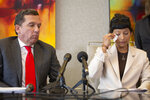 Ashley Solis, first woman to file sexual assault claims against Houston Texans quarterback Deshaun Watson, wipes away tears while giving her statement during a news conference Tuesday, April 6, 2021, in Houston.  (Yi-Chin Lee/Houston Chronicle via AP)