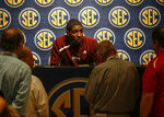 Mississippi State's Reggie Perry speaks during the Southeastern Conference NCAA college basketball media day, Wednesday, Oct. 16, 2019, in Birmingham, Ala. (AP Photo/Butch Dill)