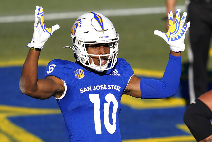 San Jose State wide receiver Tre Walker (10) celebrates after scoring a touchdown against Boise State during the first half of an NCAA college football game for the Mountain West championship, Saturday, Dec. 19, 2020, in Las Vegas. (AP Photo/John Locher)