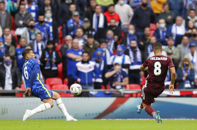 Leicester's Youri Tielemans scores the opening goal during the FA Cup final soccer match between Chelsea and Leicester City at Wembley Stadium in London, England, Saturday May 15, 2021. (AP Photo/Kirsty Wigglesworth, Pool)