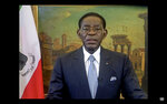 In this UNTV image, Teodoro Obiang Nguema Mbasogo, President of Equatorial Guinea, speaks in a pre-recorded video message during the 75th session of the United Nations General Assembly, Thursday, Sept. 24, 2020, at UN headquarters. The U.N.'s first virtual meeting of world leaders started Tuesday with pre-recorded speeches from heads-of-state, kept at home by the coronavirus pandemic. (UNTV via AP)