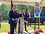 South Carolina Gov. Henry McMaster speaks during a news conference standing next to Exit 129 on Interstate 26 south of Columbia, South Carolina on Thursday, September 2, 2021. McMaster joined state transportation officials and business leaders Thursday to call on state lawmakers to put $360 million of the state's federal COVID-19 relief dollars toward jumpstarting the I-26 expansion project. (AP Photo/Michelle Liu)